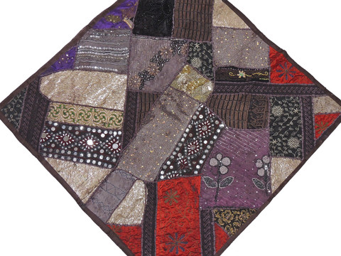 """Dark Chocolate Inspirational Wall Decoration - Unique Patchwork Tapestry Art Textile 38"""""""