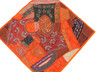 """Orange Red Inspirational Wall Decoration - Unique Patchwork Tapestry Art Textile 38"""""""
