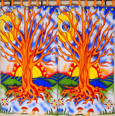 Multicolor Tree of Life Curtains from India - 2 Elegant Cotton Print Window Panels 82""