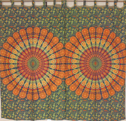 Orange Peacock Tail Fan Curtain Panels - 2 Cotton Print Window Treatments 80""