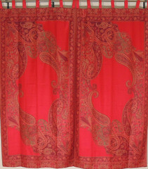 Maroon Paisley Indian Window Treatments - 2 Woven Jamawar Curtain Panels 84""