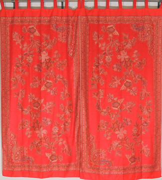 """Red Floral Indian Window Treatments - 2 Woven Jamawar Curtain Panels 84"""""""