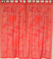 """Maroon Red Indian Window Treatments - 2 Woven Jamawar Floral Curtain Panels 84"""""""