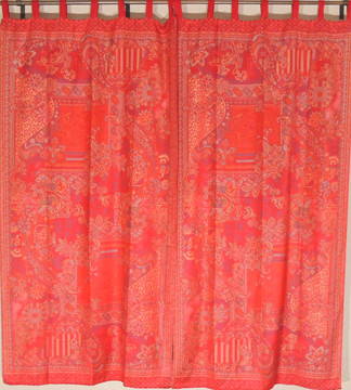 Maroon Red Indian Window Treatments - 2 Woven Jamawar Floral Curtain Panels 84""