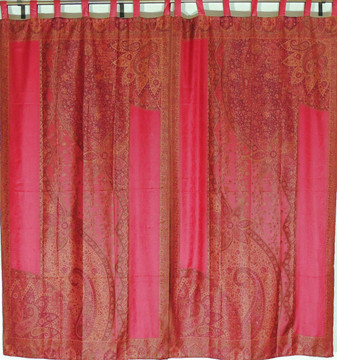 Burgundy Floral Indian Window Treatments - 2 Woven Jamawar Curtain Panels 84""