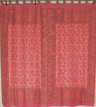 "Terra Cotta Floral Window Treatments - 2 Embroidered Jamawar Curtain Panels 84"""