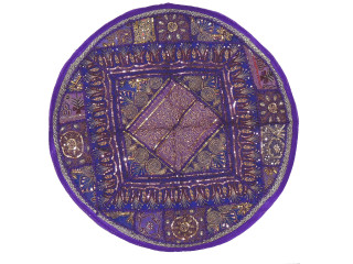 Purple Round Sari Pillow Cover - Floor Seating Decorative Indian Cushion 26""