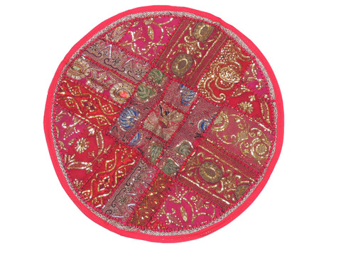 Magenta Round Sari Pillow Cover - Floor Seating Decorative Indian Cushion 26""