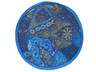 """Blue Large Round Floor Pillow Cover - Ethnic Seating Beaded Indian Cushion 26"""""""