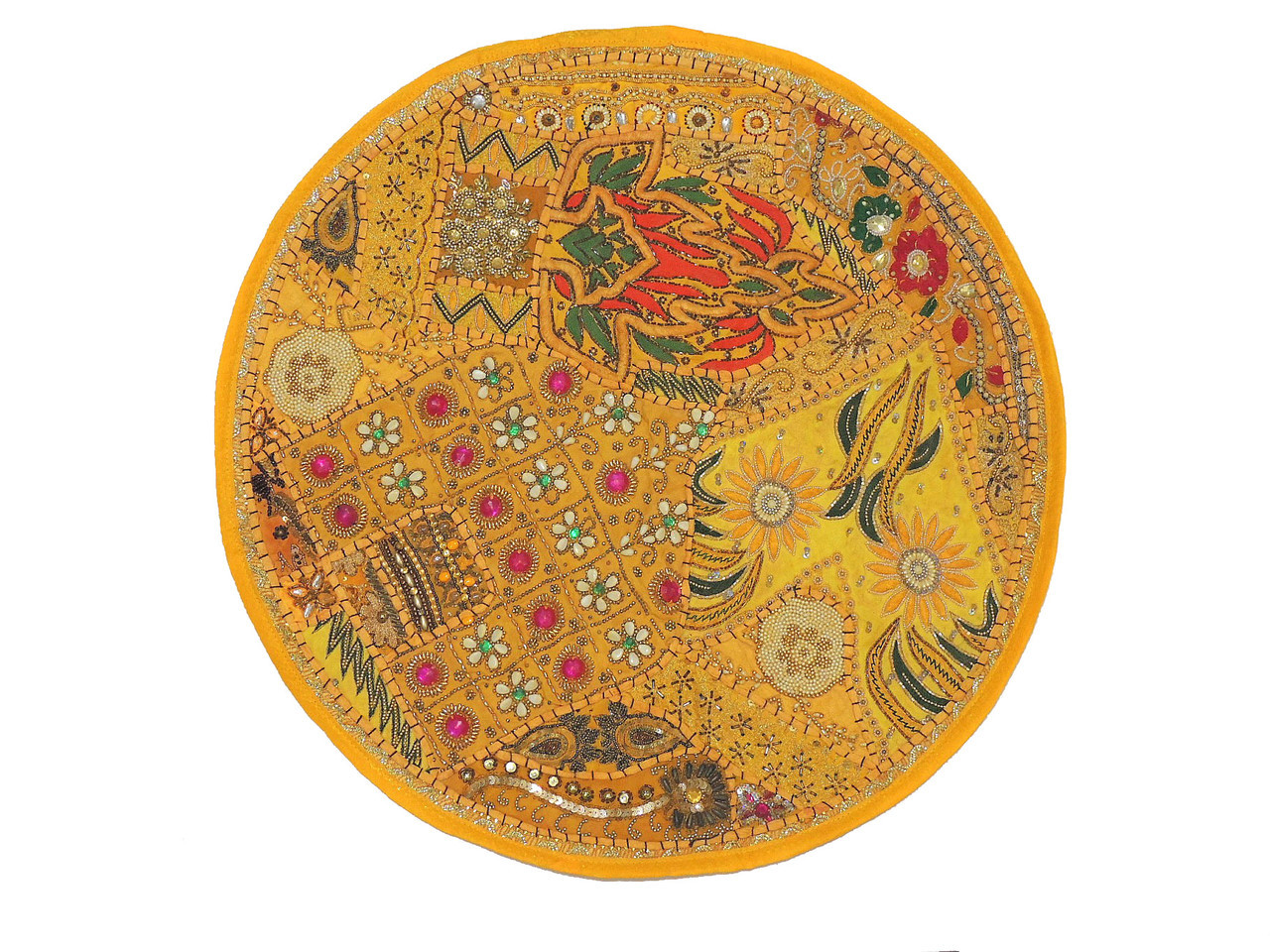 Yellow Large Round Floor Pillow Cover Ethnic Seating Beaded Indian Cushion 26