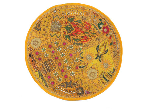 Yellow Large Round Floor Pillow Cover - Ethnic Seating Beaded Indian Cushion 26""