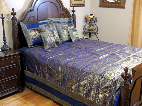 Navy Blue Peacock Pair India Inspired Bedding - Decorative Duvet King Bedspread Set
