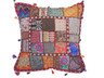 Multicolor Designer Floor Pillow Cover - Cowrie Shell Decorated Euro Sham ~ 26 Inch