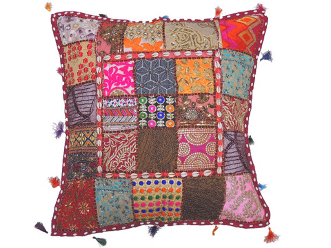 Multicolor Comfy Floor Seat Pillow Cover - Cowrie Shell Decorated Euro Sham ~ 26 Inch