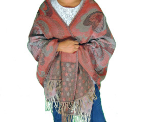 Red Gray Paisleyl Wool Shawl Wrap - Warm Jamawar Ladies Dress Scarf 78""