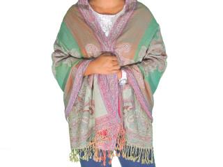 "Green Paisley Wool Shawl Wrap - Warm Jamawar Ladies Dress Scarf 78"""