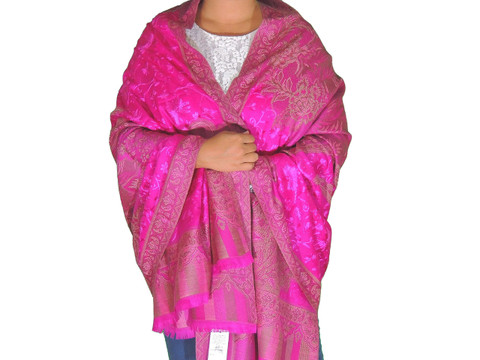 """Magenta Wool Embroidered Formal Shawl - Floral Warm Special Occasion Wrap 80"""""""