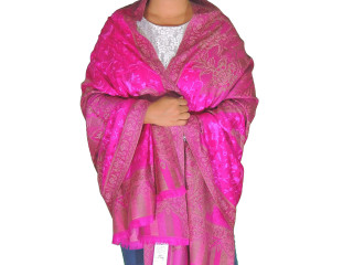 Magenta Wool Embroidered Formal Shawl - Floral Warm Special Occasion Wrap 80""