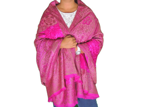 """Magenta Wool Embroidered Fashion Shawl - Floral Cozy Special Occasion Wrap 80"""""""