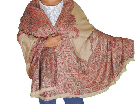 Desert Sand Paisley Wool Shawl Fashion Wrap - Evening Dress Scarf Afghan 80""