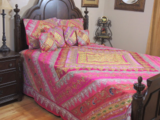 Magenta Mauve Indian Bedding - Sari Beaded Duvet with Pillows Cushion Covers ~ King