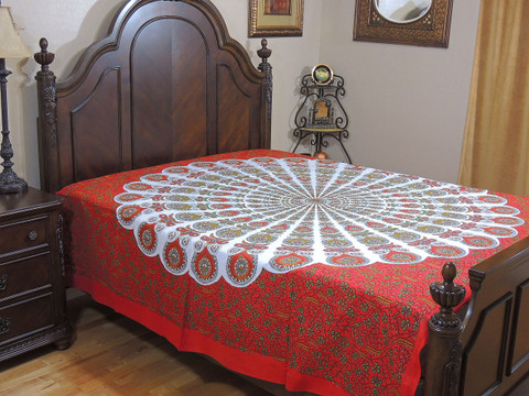 Red Peacock Tail Fan Tapestry Bed Sheet - Floral Cotton Bedding Linens ~ Full