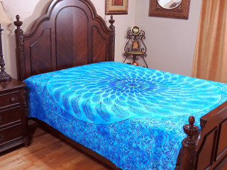 Blue Pankh Mandala Tapestry Bed Sheet - Floral Cotton Bedding Linens ~ Full