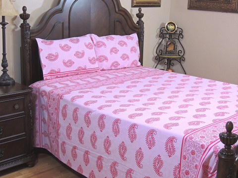 Pink Casement Cotton Paisley Bedspread – Luxury Bed Sheet Pillowcases ~ King