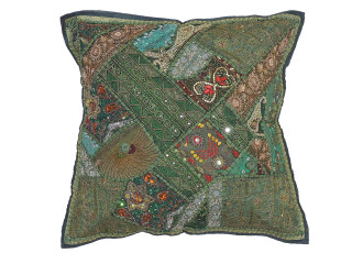 Green Designer Tapestry Floor Pillow Cover - Square Decorative Ethnic Euro Sham ~ 26 Inch