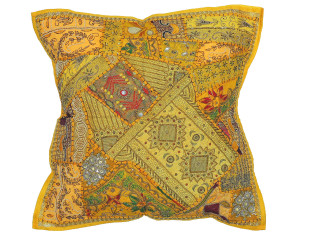 Yellow Designer Tapestry Floor Pillow Cover - Square Decorative Ethnic Euro Sham ~ 26 Inch