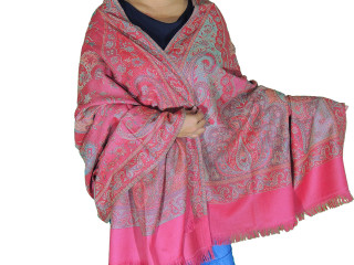 Coral Pink Paisley Wool Shawl - Kashmir Evening Dress Wrap Scarf Afghan 80""