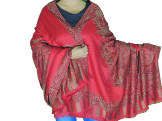 Red Satin Gold Floral Wool Shawl - Kashmir Evening Dress Wrap Scarf Afghan 80""