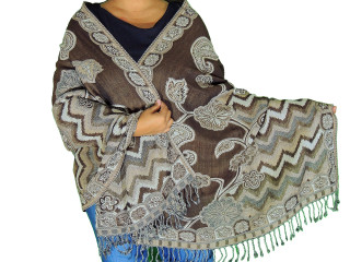 Brown Ivory Floral Wool Shawl Wrap - Warm Jamawar Ladies Dress Scarf 78""