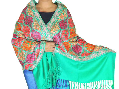 Shamrock Green Floral Designer Kashmir Shawl - Ladies Embroidered Wool Dress Scarf 78""