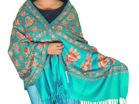 "Blue-Green Floral Designer Kashmir Shawl - Ladies Embroidered Wool Dress Scarf 78"""