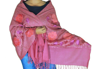 Amaranth Pink Floral Designer Kashmir Shawl - Ladies Embroidered Wool Dress Scarf 78""