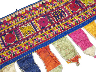 Large Window Topper Toran Hand Embroidered India Valance Wall Door Hanging XL