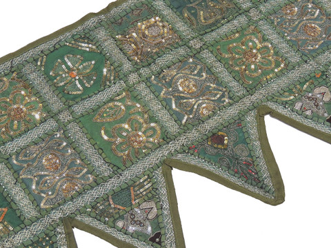 "Green Indian Window Treatments Valance - Elegant Beaded Fabric Topper Toran 60"""