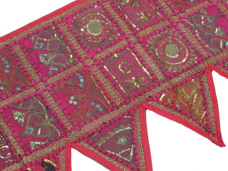 Hot Pink Handmade Window Treatments Valance - Beaded Fabric Door Topper Toran 60""