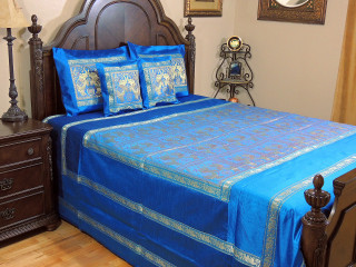 Blue Dancing Elephant Duvet Bedding Set - Indian Style Brocade Ensemble ~ Queen
