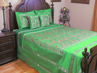 Green Elephant Duvet Bedding Set - Indian Style Brocade Ensemble ~ Queen