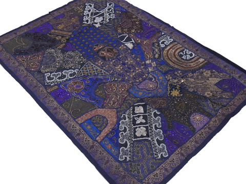 """Navy Blue Huge Indian Wall Hanging - Handmade Beaded Decorative Textile Tapestry 70"""""""