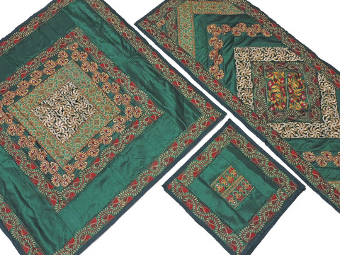Green Elegant Table Linens Set - Embroidered Handmade Tablecloth Runner Placemats