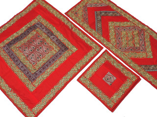 Red Elegant Table Linens Set - Embroidered Handmade Tablecloth Runner Placemats
