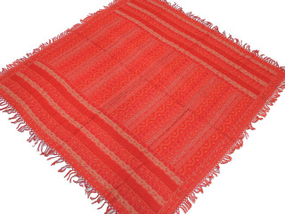 Red Retro Style Wool Kashmir Tablecloth - Geometric Vintage Ethnic Table Decor Overlay 54""