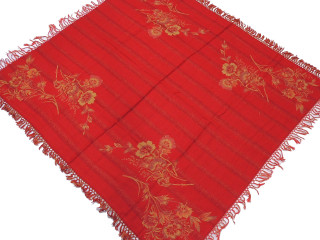 Mystic Red Wool Jamawar Woven Tablecloth - Floral Fringed Table Overlay 54""