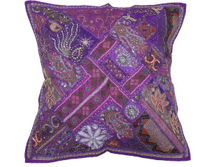 Purple Beaded Tapestry Floor Pillow Cover - Square Decorative Ethnic Euro Sham ~ 26 Inch