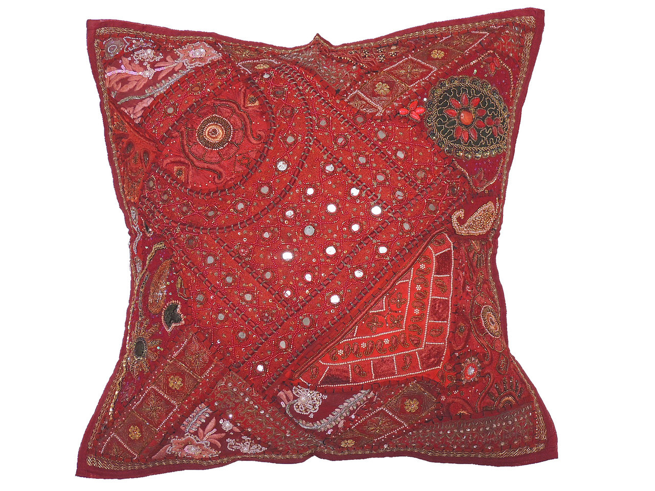 Maroon Patchwork Tapestry Floor Pillow Cover Square Decorative