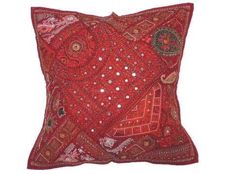 Maroon Patchwork Tapestry Floor Pillow Cover - Square Decorative Ethnic Euro Sham ~ 26 Inch