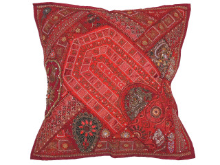 Maroon Sari Beaded Floor Pillow Cover - Decorative Indian Ethnic Euro Sham ~ 26 Inch